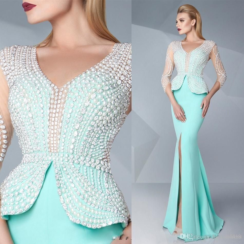 cheap mint green mermaid prom dresses pearls beaded v neck
