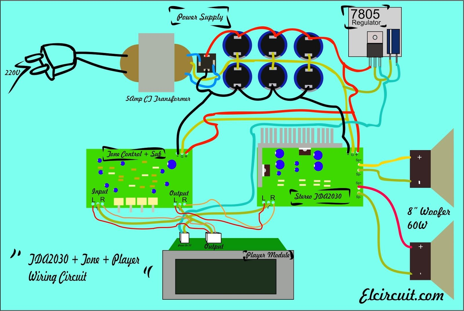 wiring circuit diagram tda2030 tone control subwoofer mp3 player [ 1600 x 1075 Pixel ]