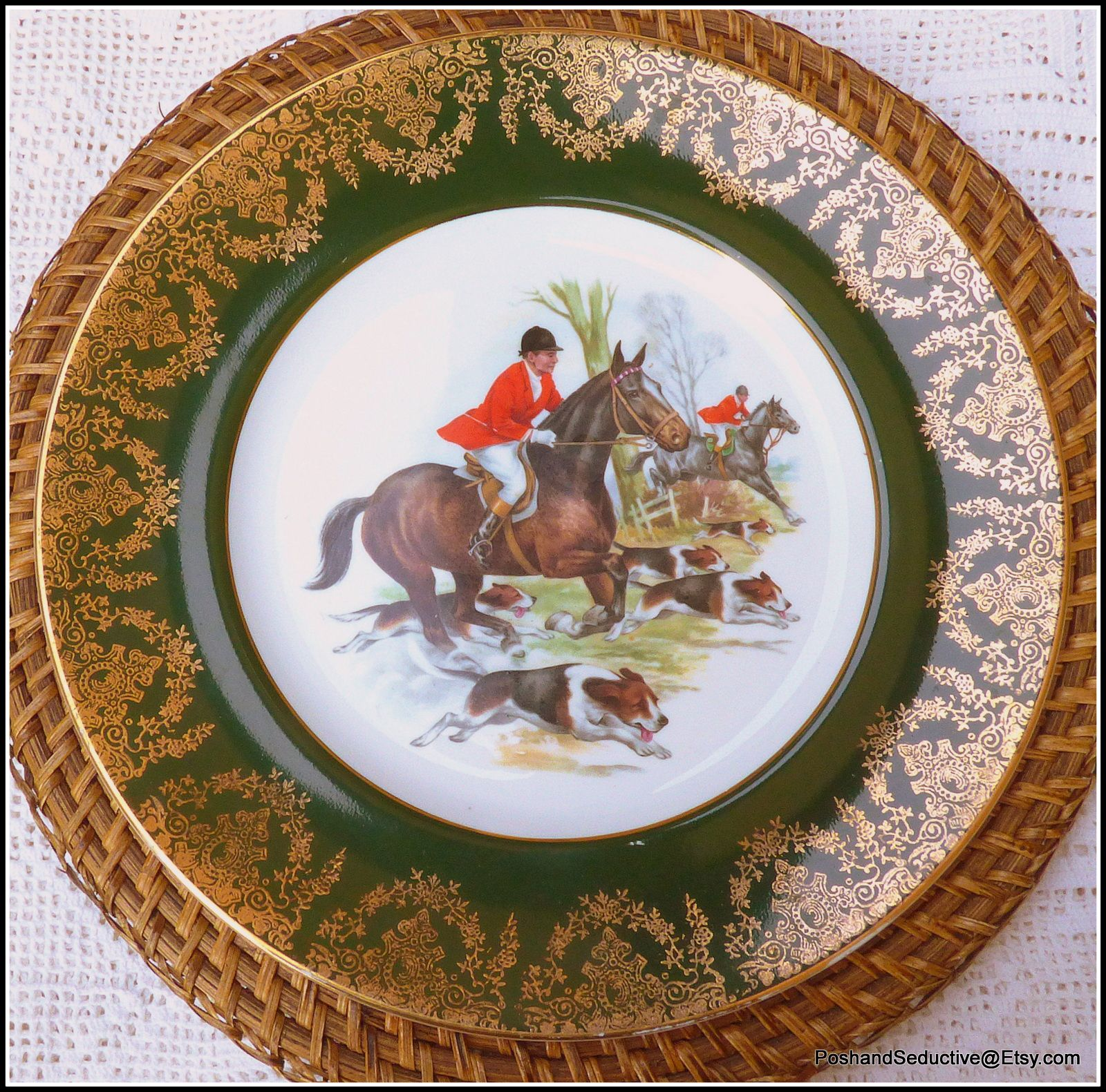 English Fine Bone China Set Of Hand Painted Dinner Plates