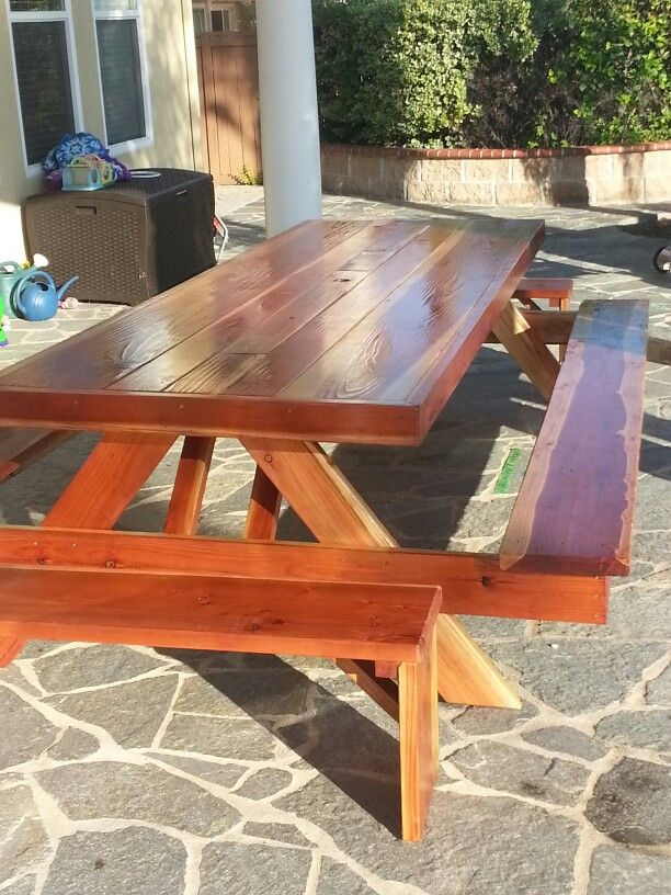 10ft Oversized Wrapped Redwood Picnic Table Benches Attached With Two Galvanized Steel Ice Troughs Custom Outdoor Furniture Picnic Table Picnic Table Bench