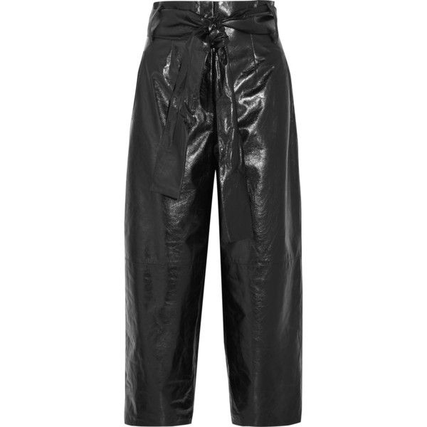 Glossed Textured-leather Culottes - Black Valentino rY6AS