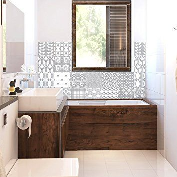 Carreaux de ciment adhésif mural - azulejos - 20 x 20 cm - 24 pièces - pose carrelage mural salle de bain