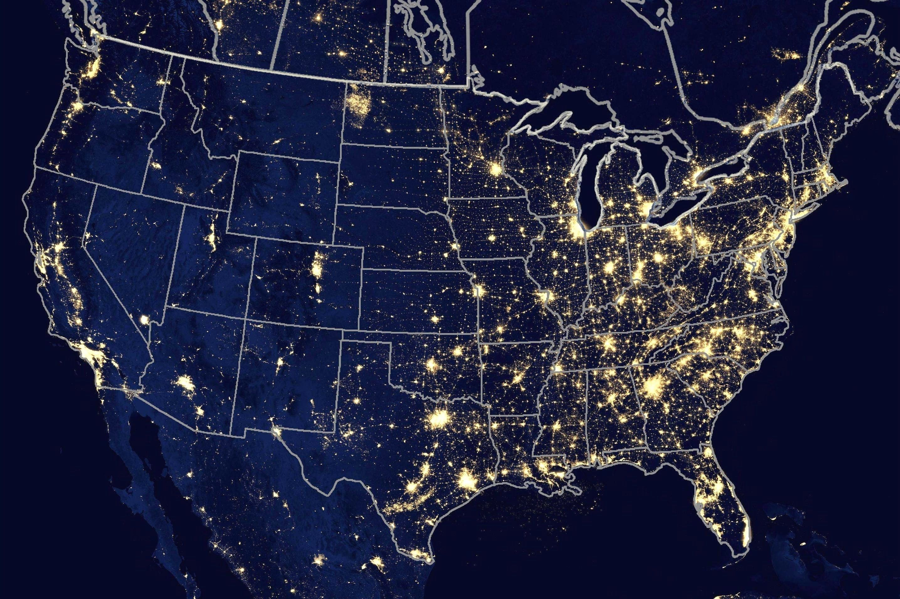 Us Night Light Map Light pollution Contiguous United States | Light pollution, Light