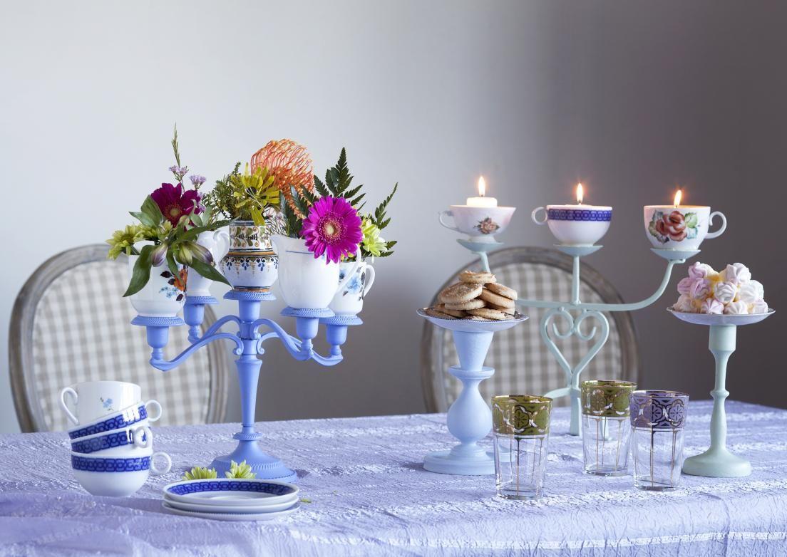 Tuunaa vanhat kynttilänjalat ja parittomat kupit kauniiksi pöytäkoristeeksi. Katso Unelmien Talo&Kodin hauska ja helppo ohje ja innostu askartelemaan!