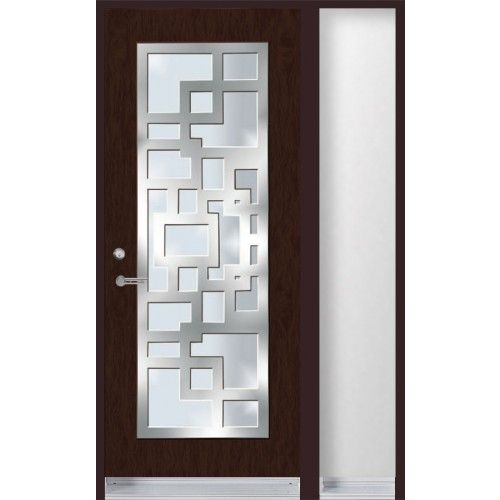 Single entry door with stainless steel frame on top of glass ...