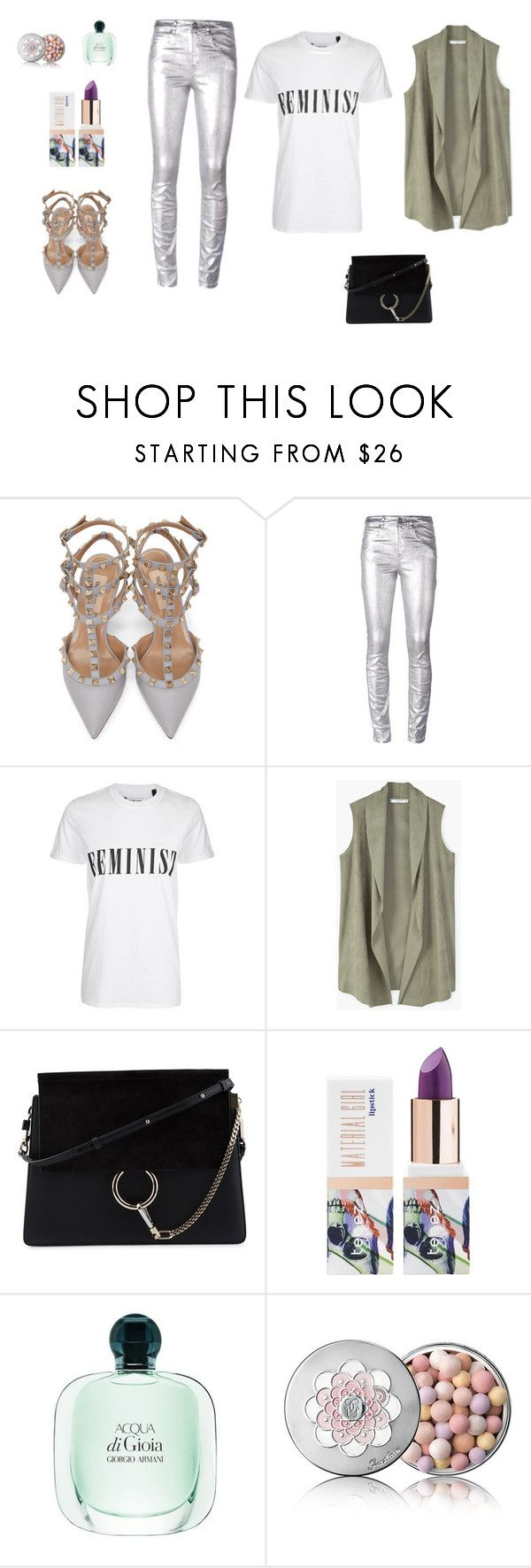 """""""w silver"""" by gloria-3789 ❤ liked on Polyvore featuring Valentino, Étoile Isabel Marant, Tee and Cake, MANGO, Chloé, Teeez and Guerlain"""