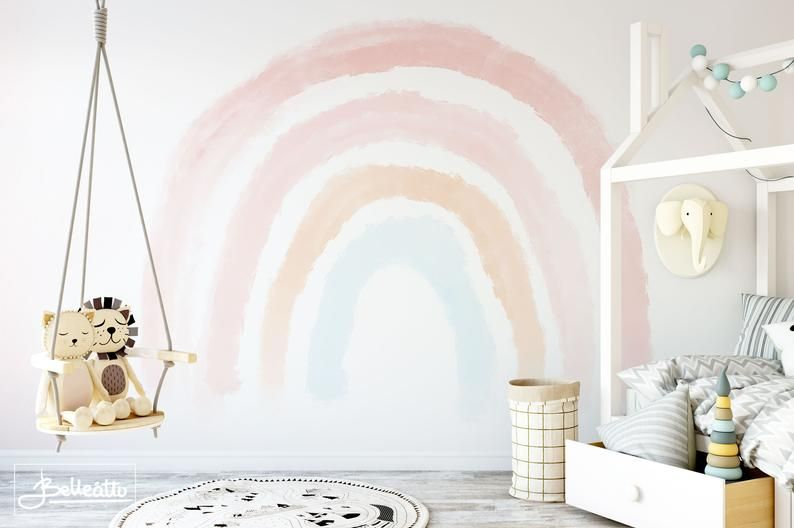 Boho Coral Peach Pink Rainbow Removable Wallpaper Pastel Rainbow Wall Mural Pink Sticker Self Adhesive Peel And Stick Repositionable Verwijderbaar Behang Behang
