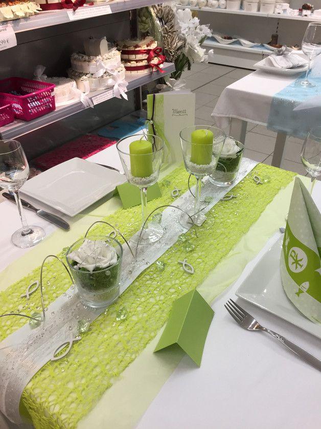 Tischdeko Grün tischdeko kommunion konfirmation fertige tischsets satinband