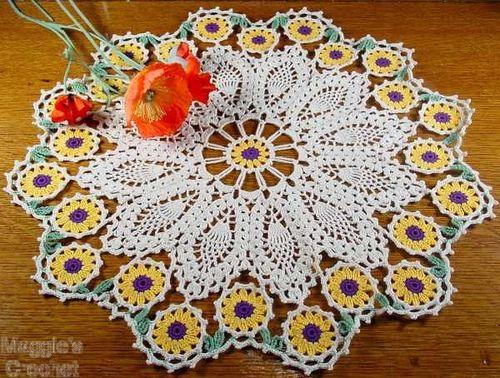 Flower Doily Set Crochet Pattern Pdf Doilies Pinterest Crochet