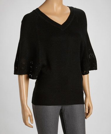 Take a look at this Black Pointelle Cape-Sleeve Sweater by Carducci on #zulily today!