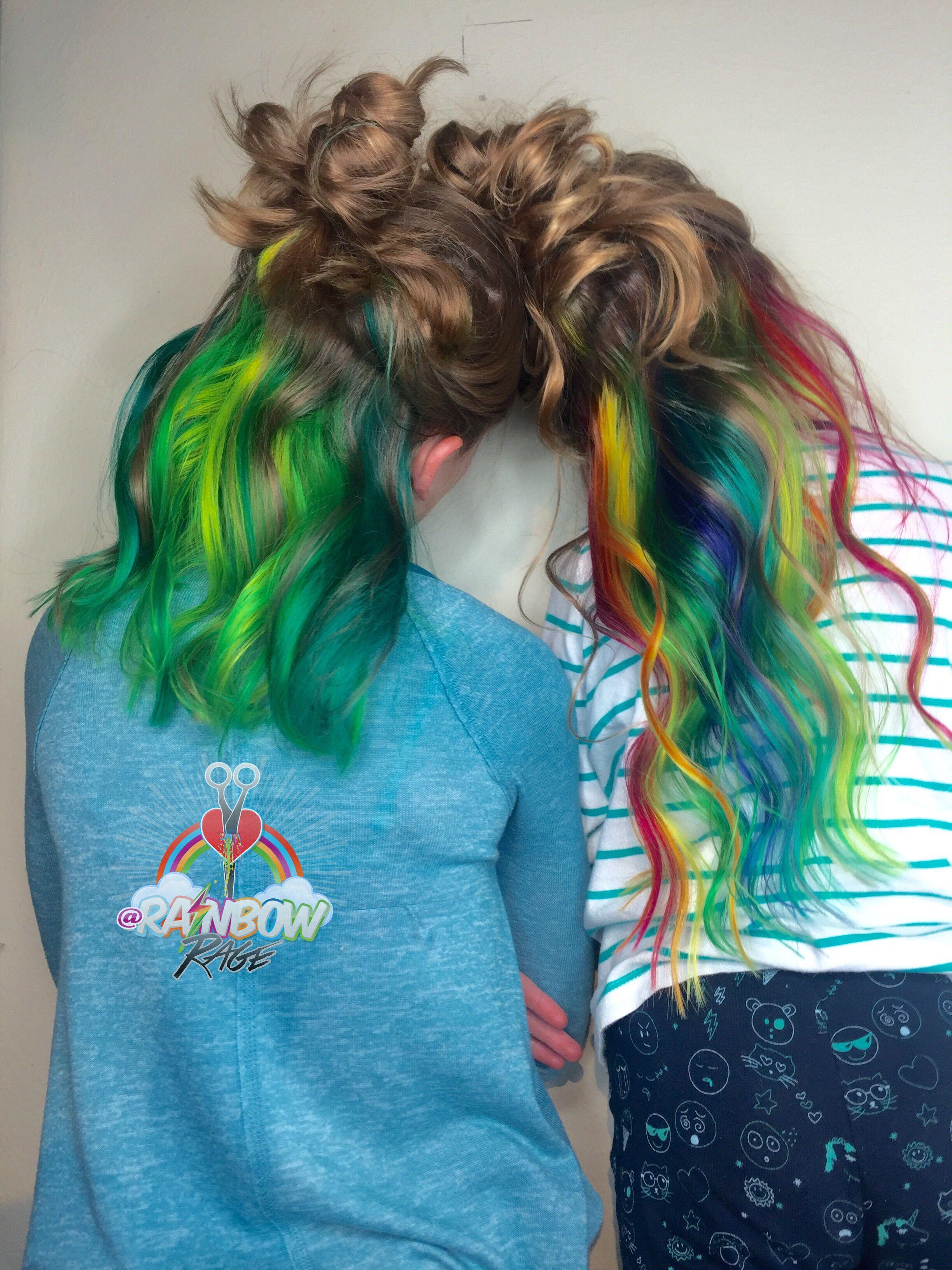 Kids hidden rainbow underlights hair
