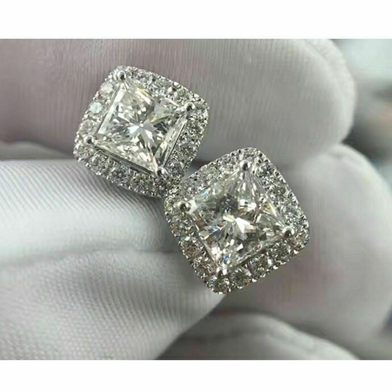4.00 Ct Round Cut Simulated Diamond Stud Earrings 14K White Gold
