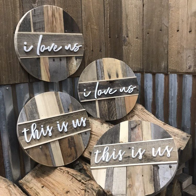 Photo of This Is Us Round Pallet Sign | I Love Us Pallet Decor | Rustic Home Decor | Wood Signs
