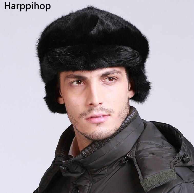e279c67c7a8 Harppihop Real fur mink fur Protect Ear fur man hat warm in winter  freeshpping 2017 NEW