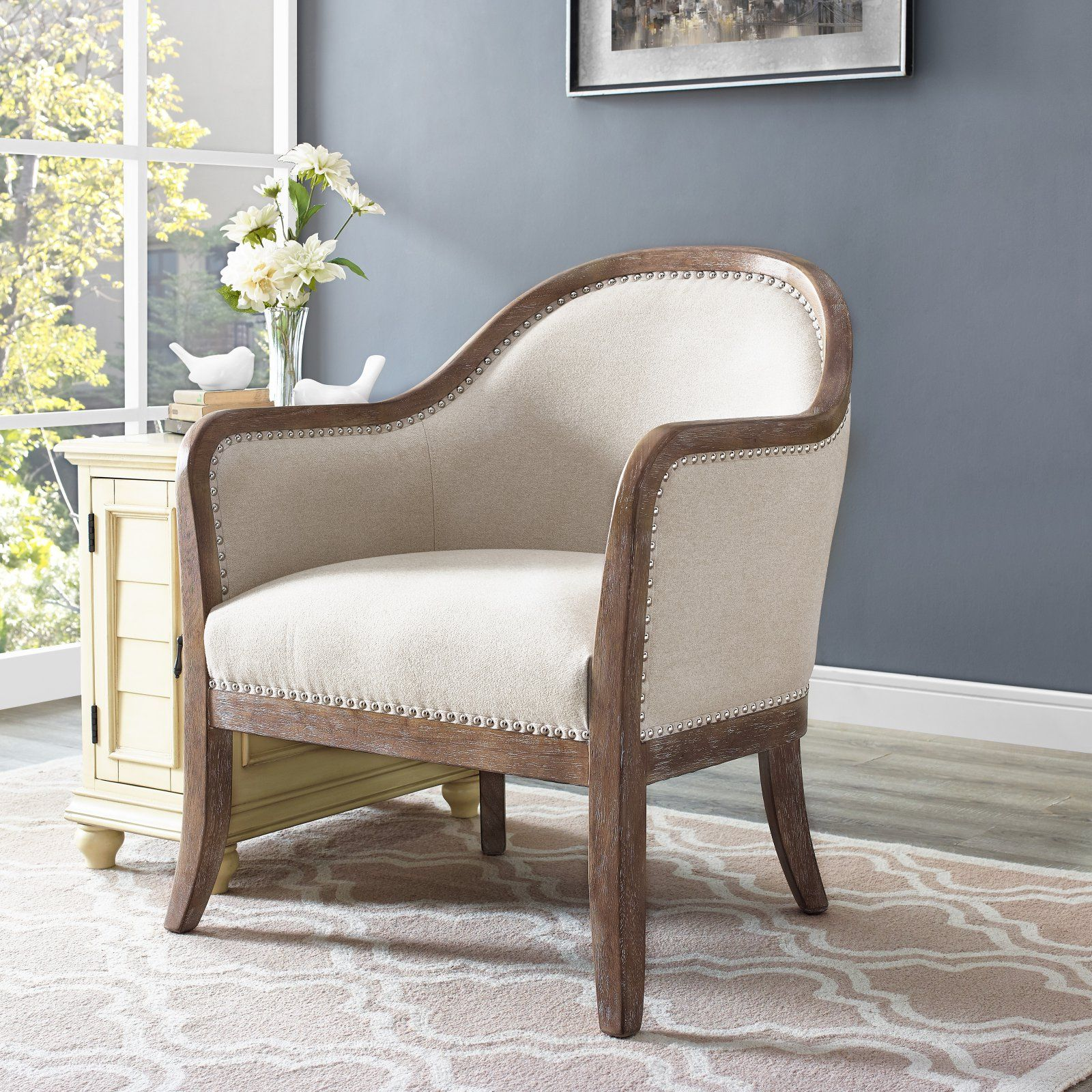 Right2home Farmhouse Style Accent Chair With Images Beige