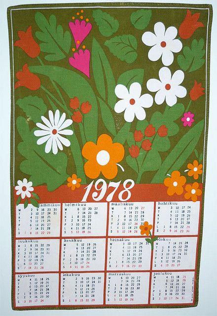 Finnish Calendar Towel 1978 Jeugdherinneringen Kindertijd En