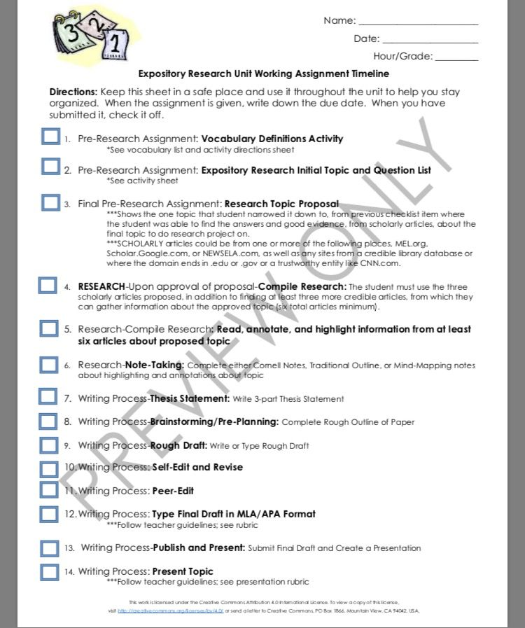 Expository Research Unit Timeline Checklist Timeline and Students - expository essays