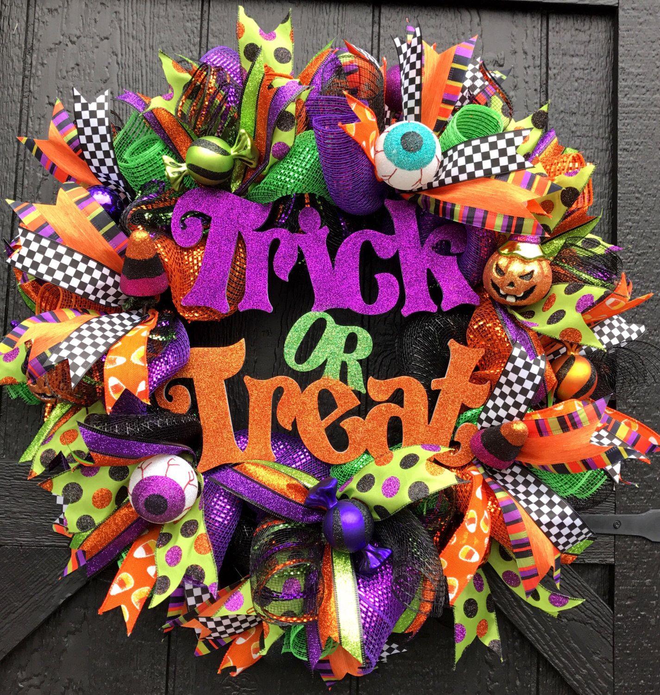 Halloween Trick or Treat Deco Mesh Door Wreath, Halloween Wreath - halloween front door decor