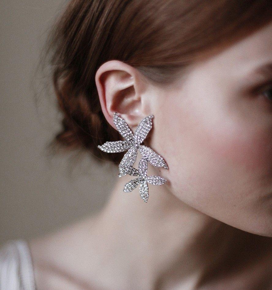 Orchid cascade statement chandelier Earrings in silver