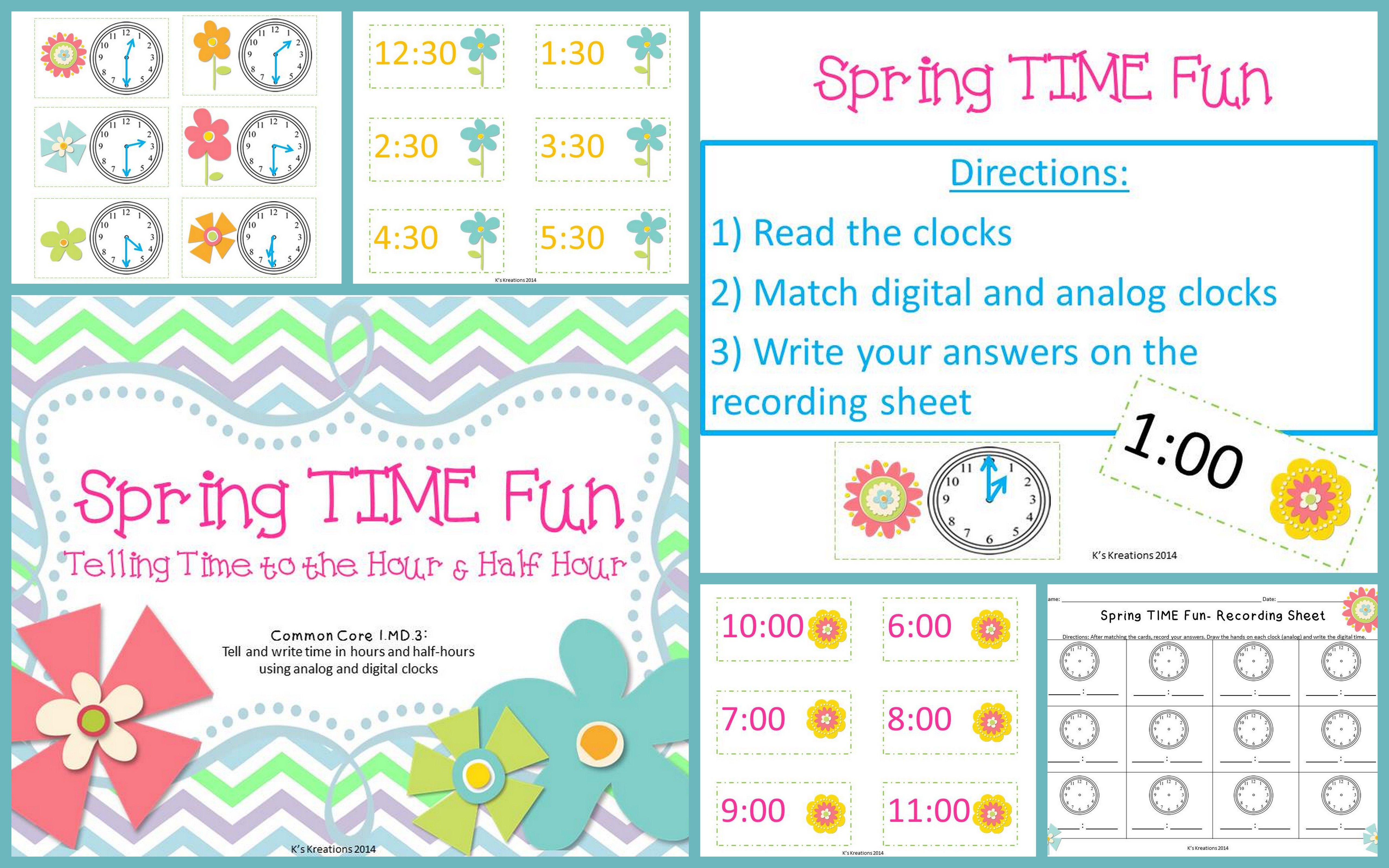 1 Md 3 Telling Time Math Center For Spring