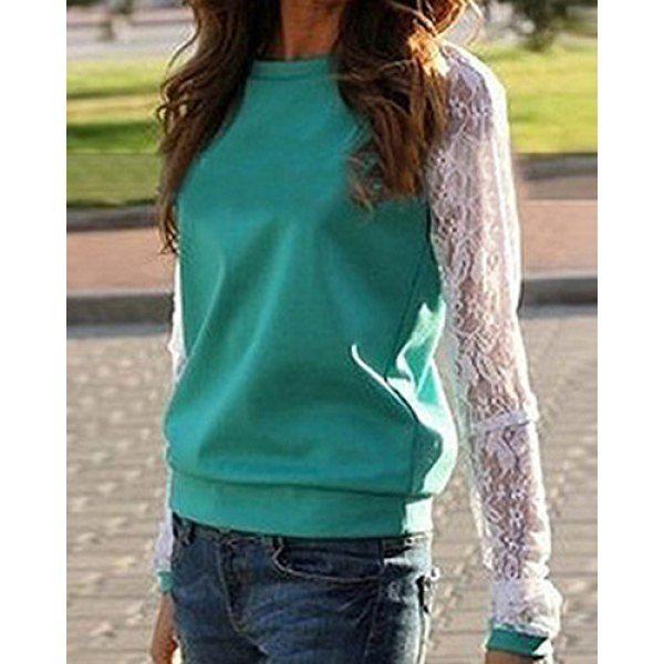 $10.23 Fashionable Round Neck Long Sleeve Spliced See-Through Women's Sweatshirt