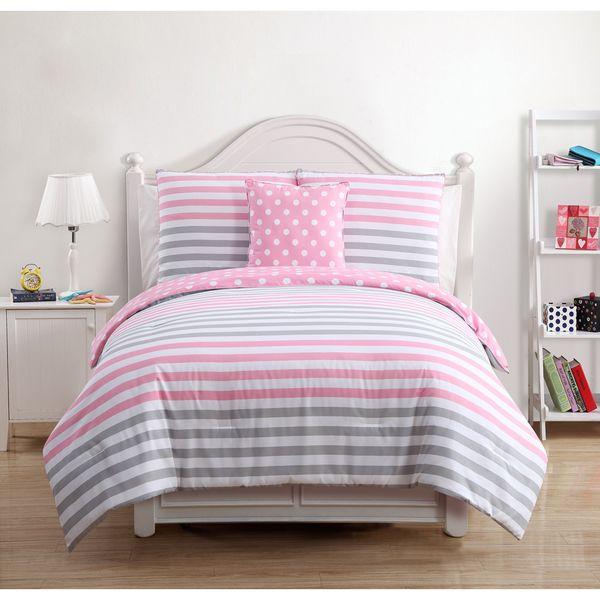 Overstock Com Tips Ideas: Kayla Kids Pink/Grey Cotton 4-piece Comforter Set