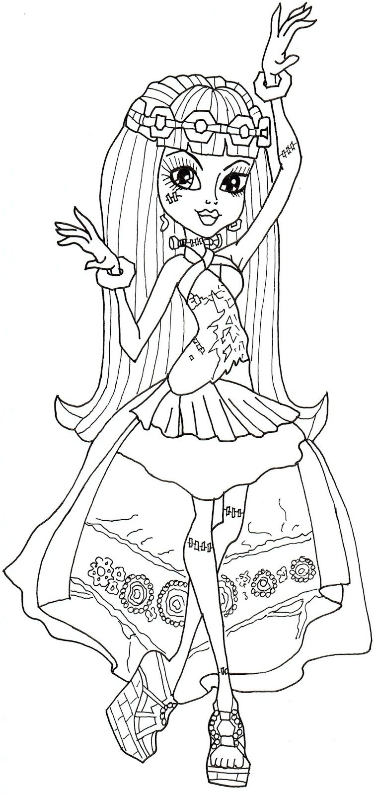 Free Printable Monster High Coloring Pages Frankie Stein 13 Wishes Coloring Page Halloween Coloring Pages Monster High Halloween Monster High Printables