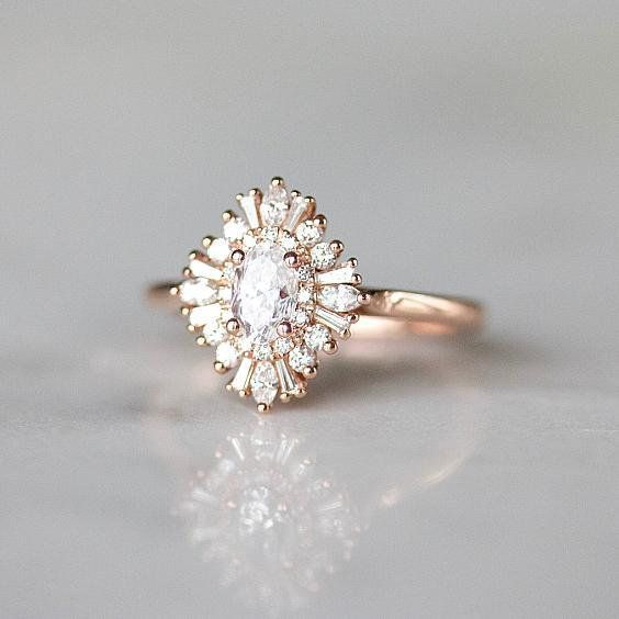 Photo of Gatsby Style Engagement Ring | Art Deco Engagement Ring | Rose Gold Engagement Ring | Double Halo Oval Moissanite Ring [The Daisy Ring]