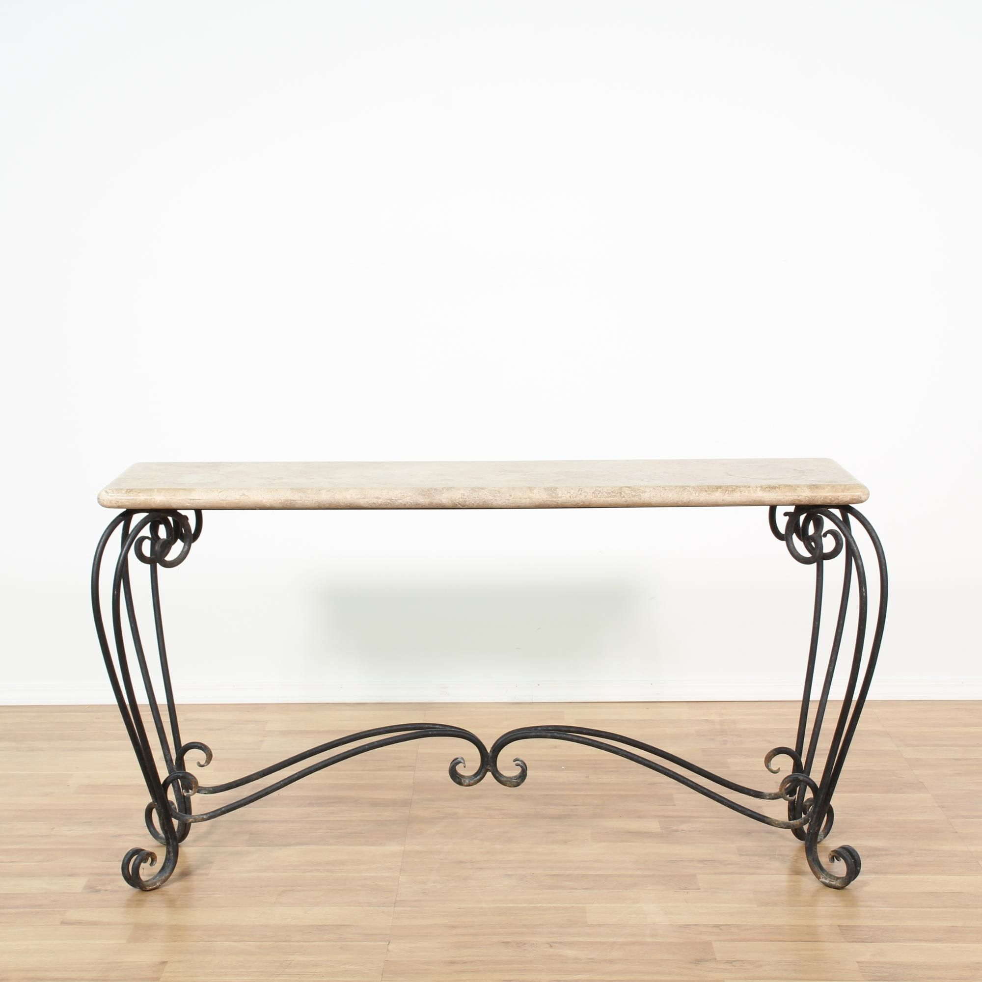 black contemporary sofa tables. This Sofa Table Is Featured In A Curved Black Wrought Iron. Contemporary Console Has Intricate Scrollwork Legs, Stretchers, And Shiny Marble Tables M