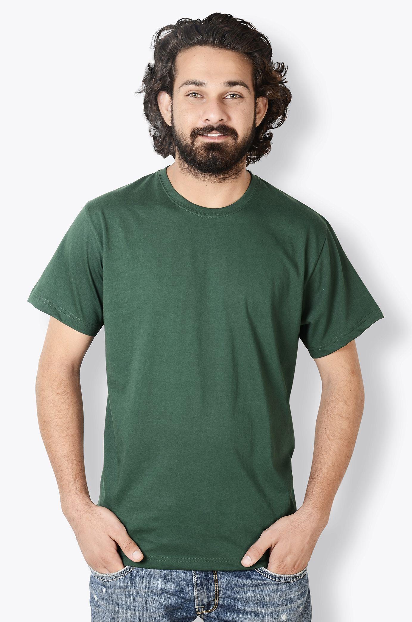 a8d4c87cb Men's Dark Green Round Neck T-Shirt Half Sleeve In stock Rs. 150.00 http