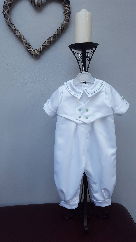Baby Christening Romper Suit, Baptism Romper Suit. White Satin ...