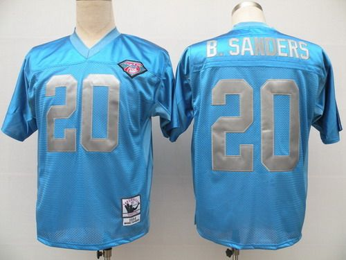 best loved df8c1 39486 Detroit Lions #20 Barry Sanders Blue 75TH Throwback Jersey ...