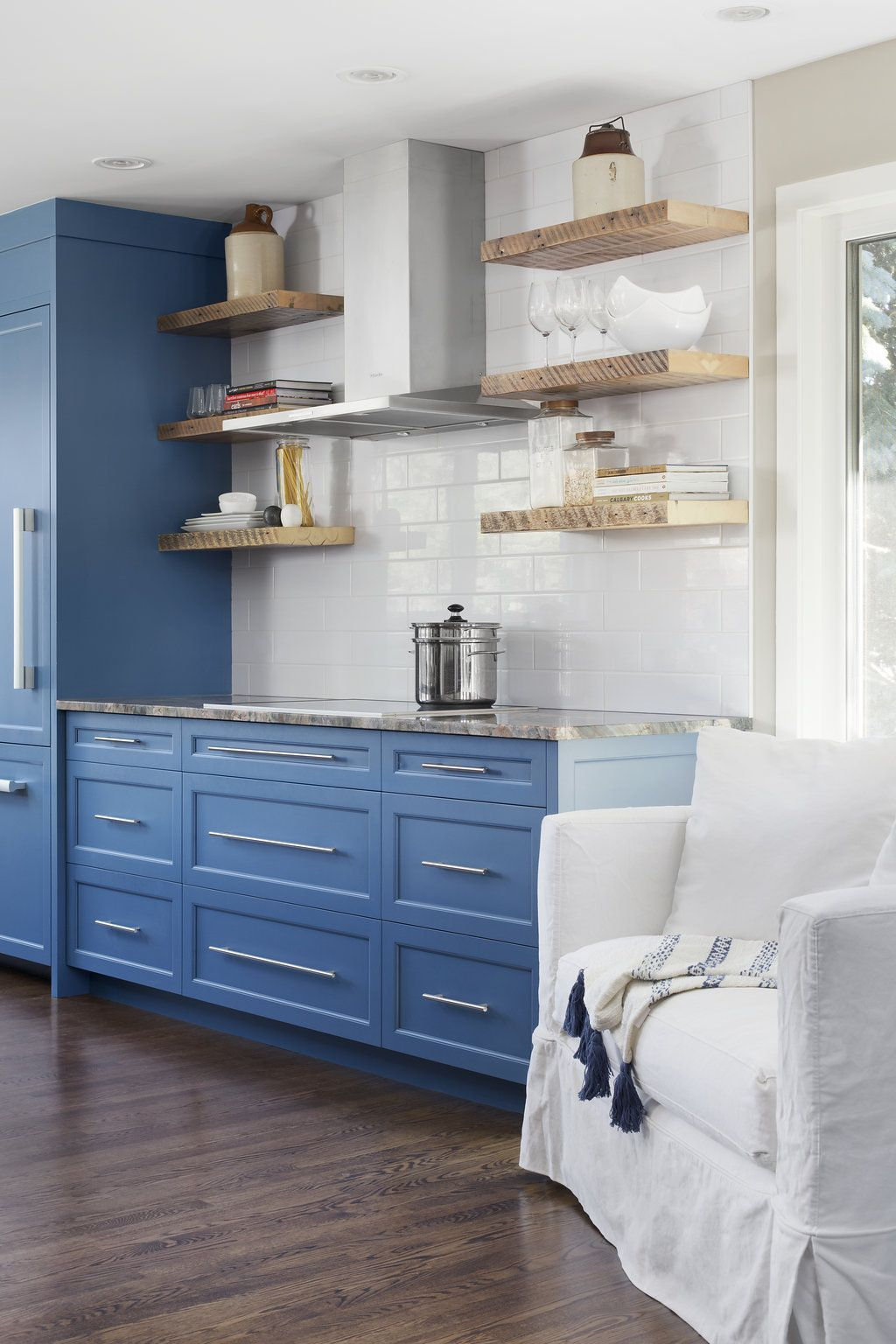 LD&A // Blue millwork // Blue kitchen // Kitchen Island // Blue ...