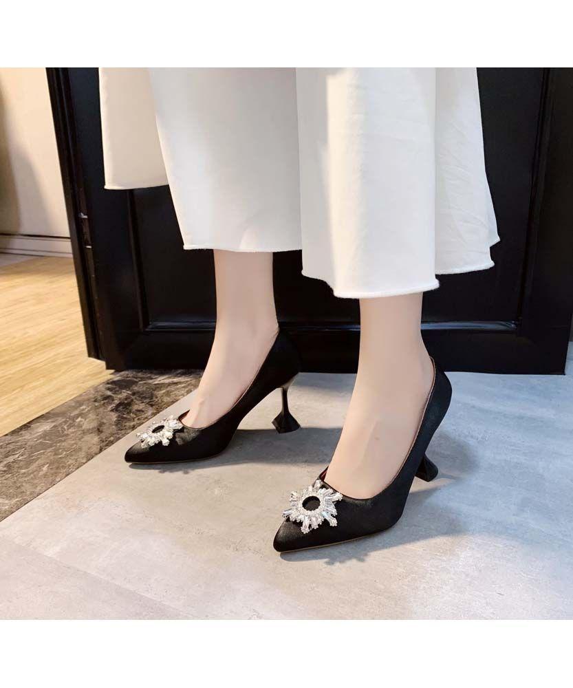 Black Floral Ornament Buckle Slip On Heel Dress Shoe In 2020 Dress And Heels Heels Shoes