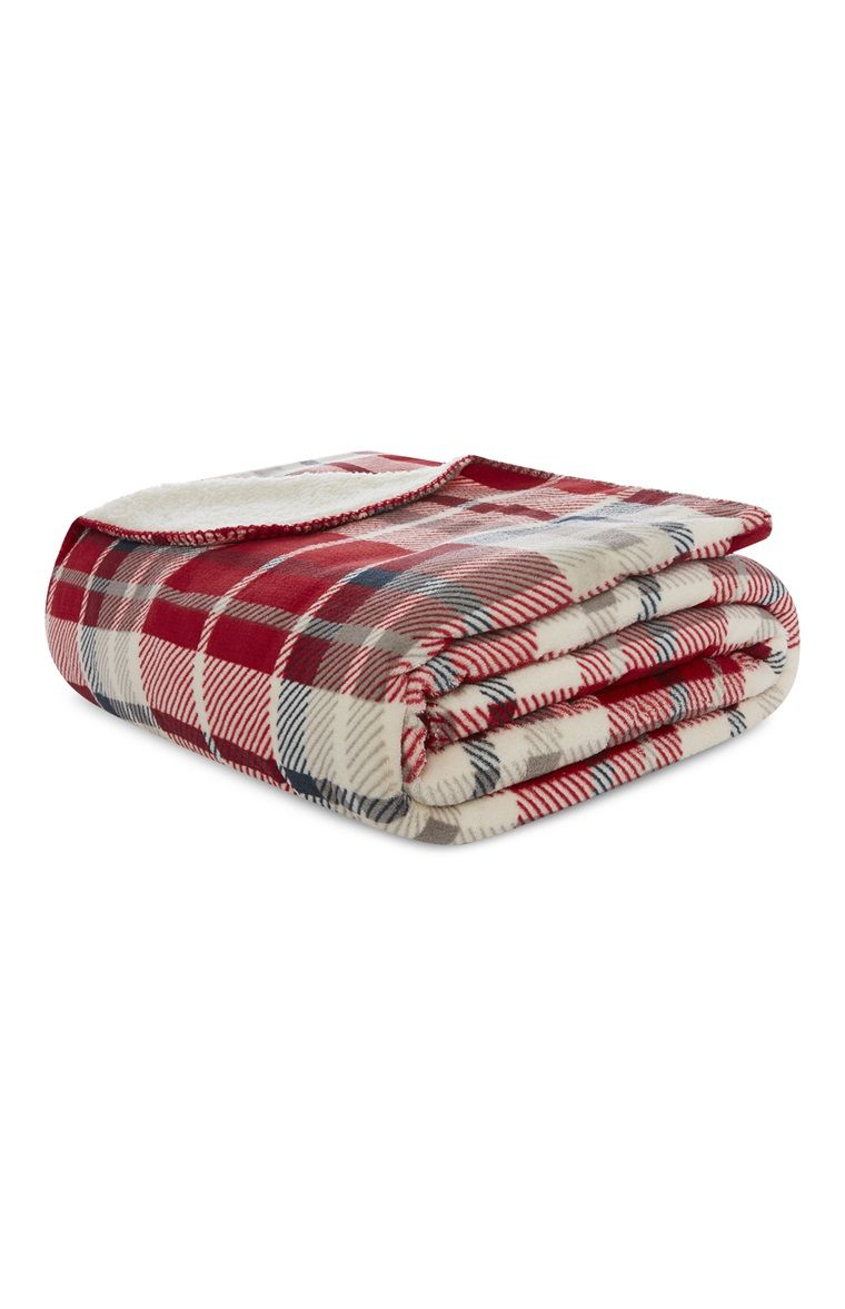 Primark - Red And Cream Check Sherpa Throw  80c133dec2