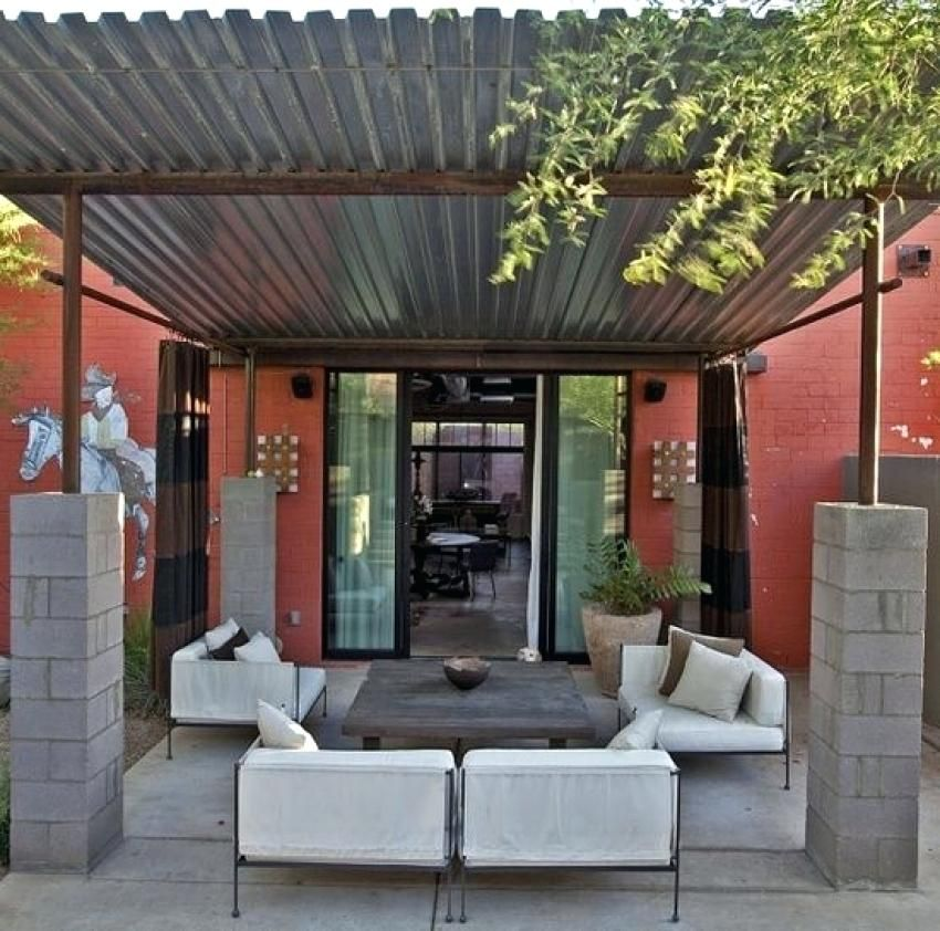 Pergola Designs With Metal Roof: Pergola With Metal Roof Corrugated Metal Shade Structure