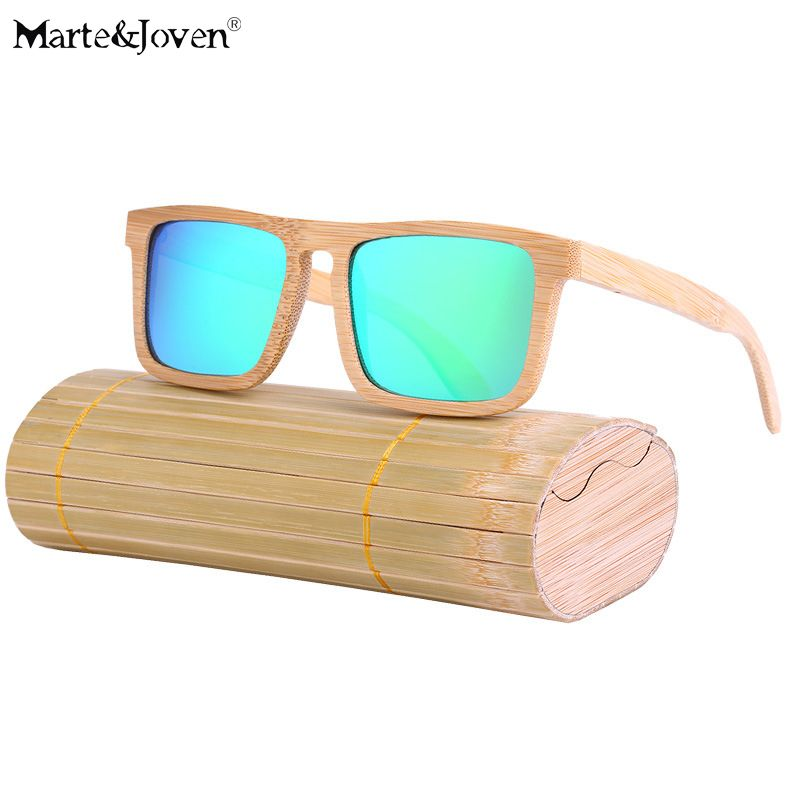 274bb90640  Marte Joven  Unique Natural Bamboo Frame Square Sunglasses Women Men  Anti-Glare Wooden Driving Eyewear Glasses with Gift Boxes  Affiliate