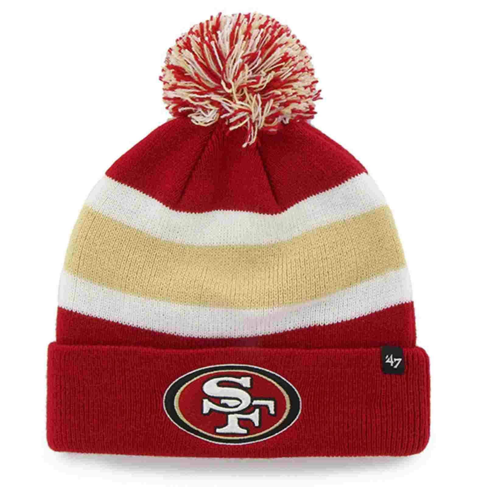 watch c9ada 21d0f San Francisco 49ers 47 Brand Tri-Tone Breakaway Cuffed Beanie Poofball Hat  Cap