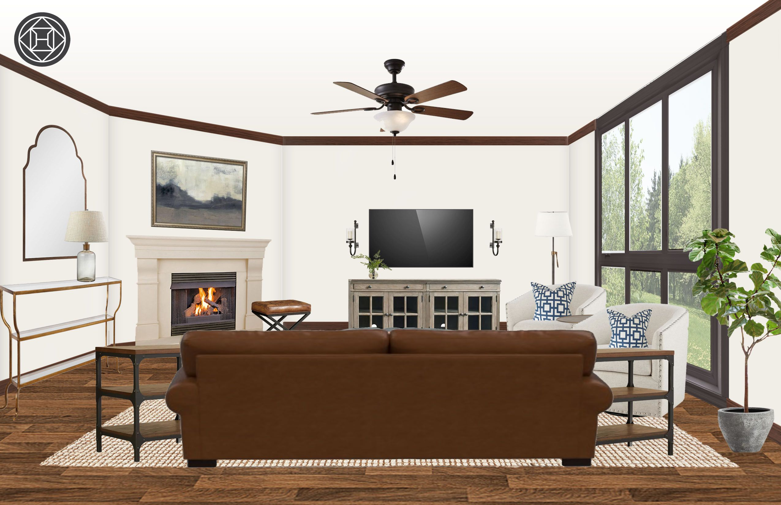 Transitional Living Room Design by Havenly Interior Designer Paige #havenlylivingroom