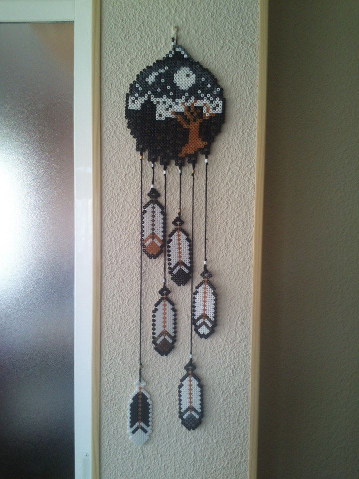Dream catcher with feathers Hama perler beads by piotita on deviantART