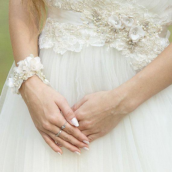 Cinturón de novia Champagne cinturón nupcial boda vestido de ...