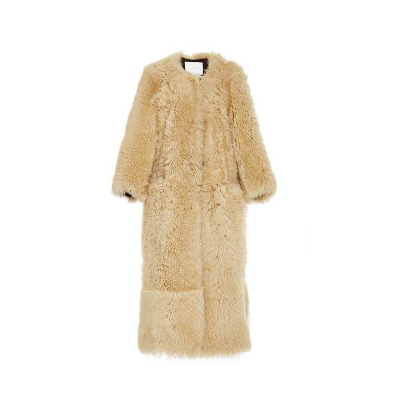 Adam Lippes Crewneck Shearling Coat ($5,500) ❤ liked on Polyvore featuring outerwear, coats, brown shearling coat, sheep fur coat, adam coates, adam and brown coat