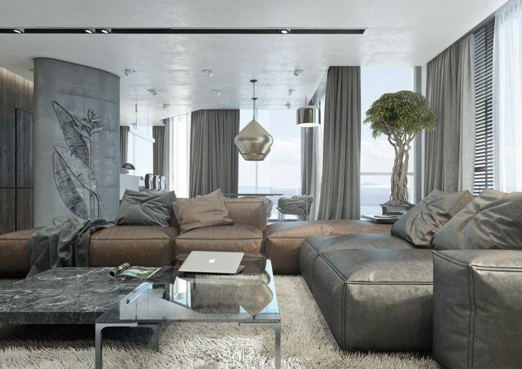 Farbkombination Grau Braun Weiß im Wohnzimmer - stilvolle - wohnzimmer in weiss braun