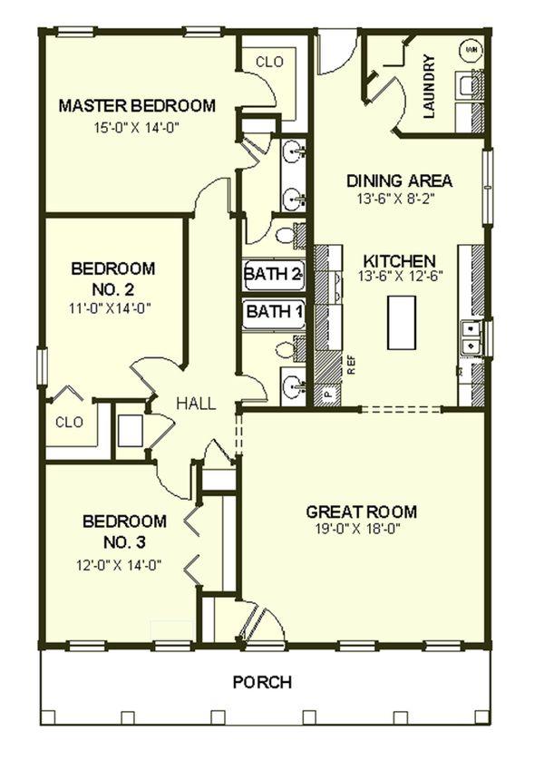 Southern Style House Plan 3 Beds 2 Baths 1587 Sq Ft Plan 44 151