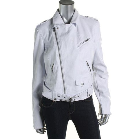 Guess Womens Faux Leather Asymmetric Motorcycle Jacket | BHFO