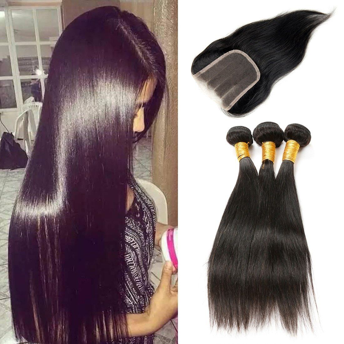 Brazilian Straight Hair Weave 3 Bundles 8 16 Inch With 4 4 Three Part Lace Cl Human Hair Extensions Brazilian Straight Human Hair Brazilian Straight Hair Weave