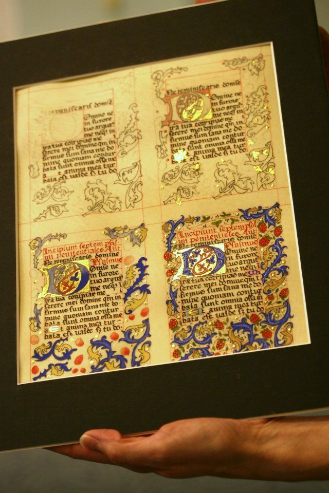 illuminated manuscript page in stages of completion