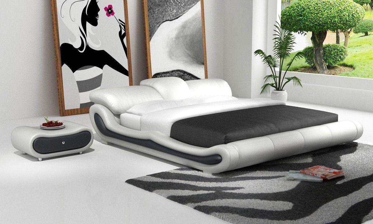 Best Modrest D513 Modern White Black Bonded Leather Bed 640 x 480