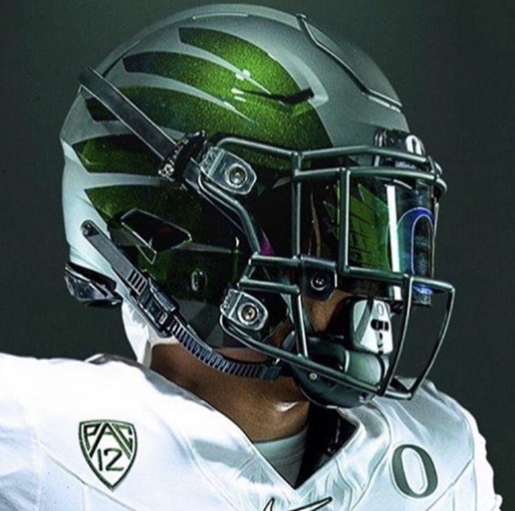 University Of Oregon Ducks Custom Logo Shoc Visor Football Helmets College Football Helmets Cool Football Helmets