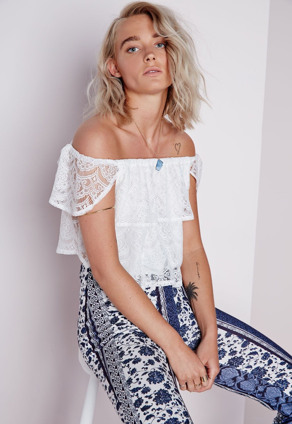 Missguided - Bardot Lace Top White | My style ♡♡ | Pinterest ...